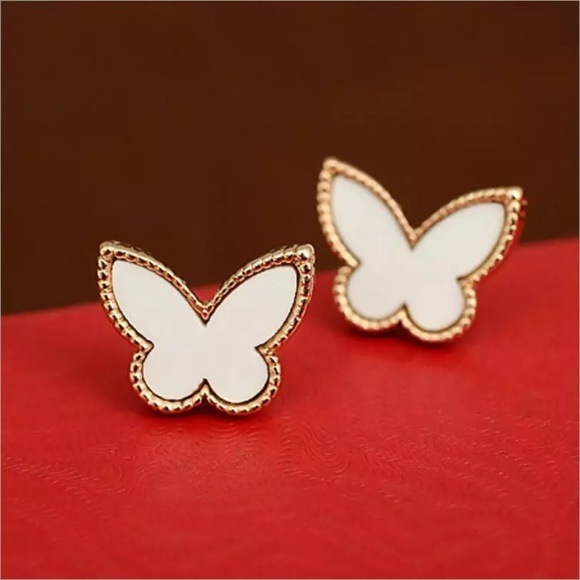 Jewelry - Elegant White Butterfly Gold Earrings